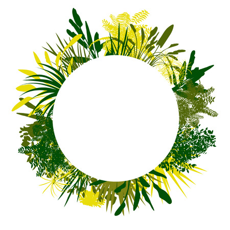 Wild plants detailed silhouettes background vector banner design