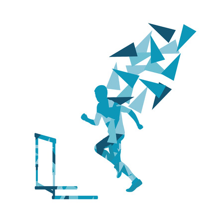 hurdles: Man hurdles race male athlete competing vector abstract background illustration made of polygon fragments isolated on white Illustration