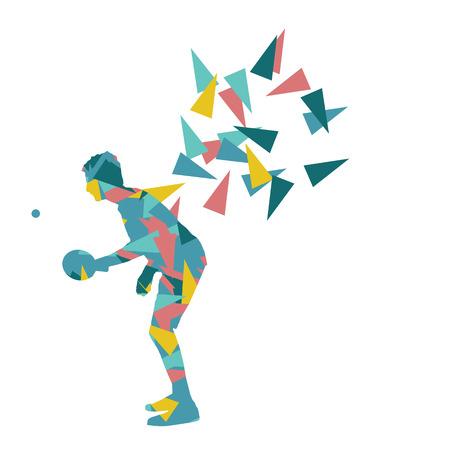 socializando: Tenis de mesa de ping-pong reproductor de ilustración vectorial fondo abstracto hecho con fragmentos poligonales aislado en blanco