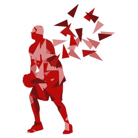 Basketball player man vector background abstract illustration concept made with polygon fragments isolated on white Illustration