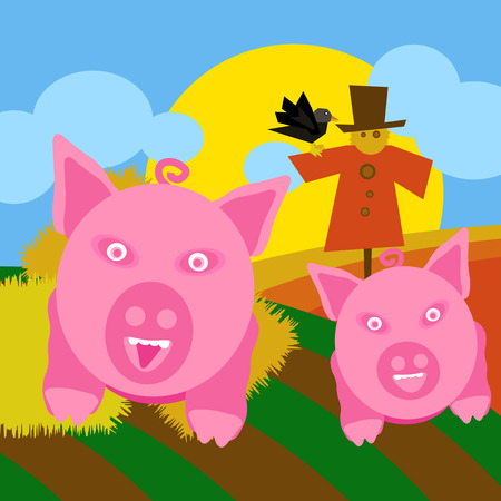 Countryside background illustration with cultivated land fields and healthy pigs