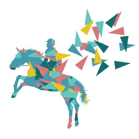Concept d'illustration abstraite vecteur fond d'équitation fait de fragments de polygone isolé sur blanc
