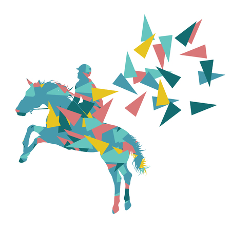 Horse riding vector background abstract illustration concept made of polygon fragments isolated on white