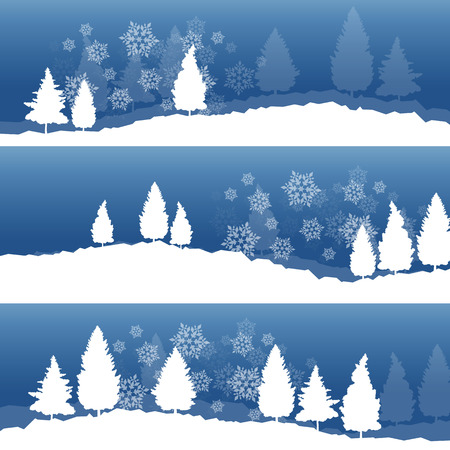 snowy hill: Christmas background with winter white snowy fir trees and falling snowflakes vector