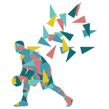 challenges: Basketball player man vector background abstract illustration concept made with polygon fragments isolated on white Illustration