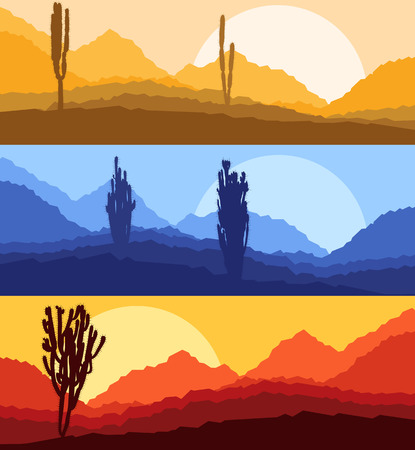 Cactus desert landscape vector background set with sunset and sunrise Illustration