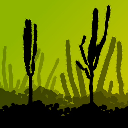 alpine plants: Cactus detailed silhouettes nature desert landscape illustration vector background