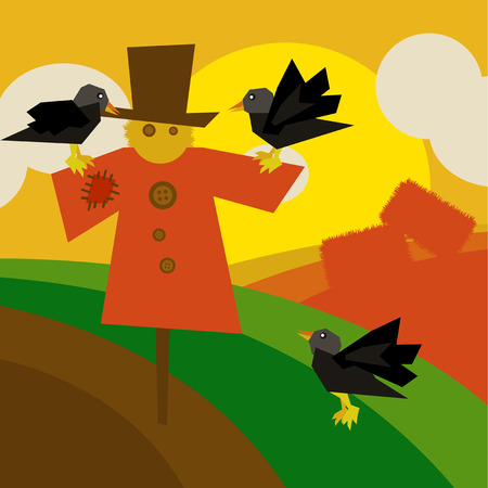 cultivated: Countryside background illustration with cultivated land fields and scarecrow with black crows