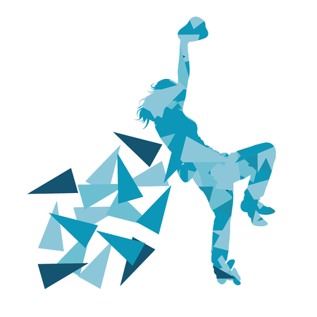 fragments: Climber silhouette woman vector background abstract illustration made of polygonal fragments isolated on white