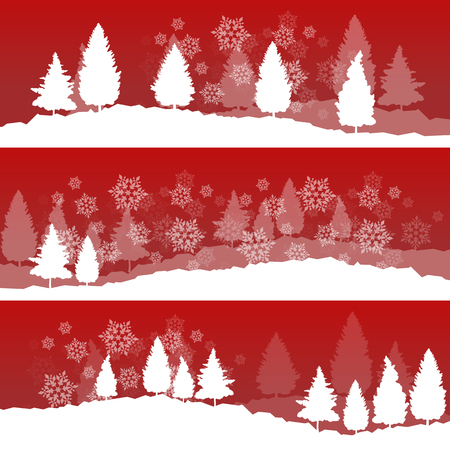 fir trees: Christmas background with winter white snowy fir trees and falling snowflakes vector