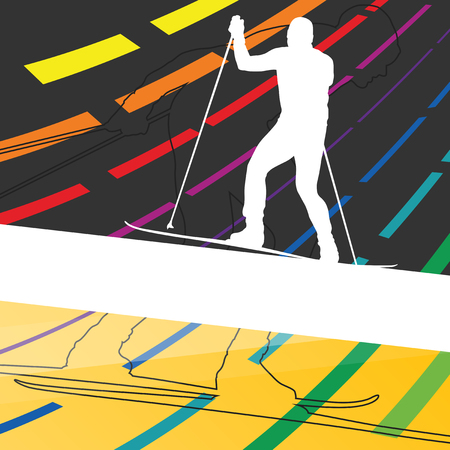 Active young man skiing sport silhouettes in winter abstract line background outdoor illustration vector