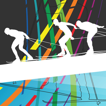 teenagers learning: Active young woman and man skiing sport silhouettes in winter abstract line background outdoor illustration vector
