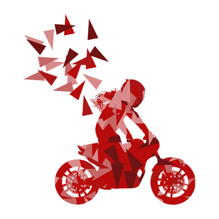 performed: Motorcyclist performed extreme stunts driver vector abstract background illustration made of polygon fragments isolated on white Illustration