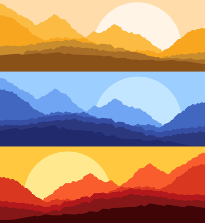 Desert sunset and sunrise landscape vector background Illustration