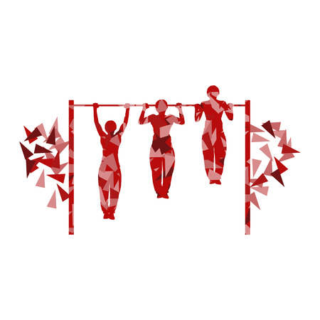 pull: Athlete doing pull up man fitness and horizontal bar vector background abstract illustration made with polygon fragments isolated on white