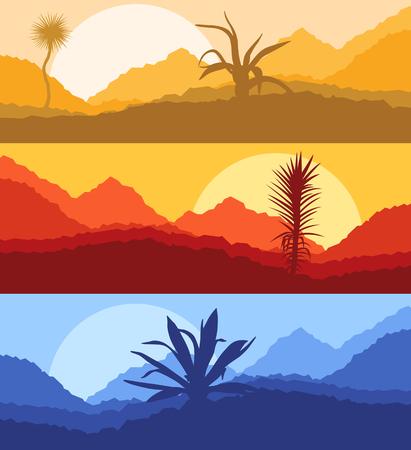 deserts: Cactus desert landscape vector background set with sunset and sunrise Illustration