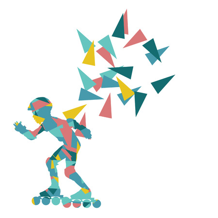 inline skater: In line skating vector background abstract illustration made with polygon fragments isolated on white