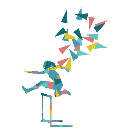 hurdles: Female hurdles race woman athlete competing vector abstract background illustration made of polygon fragments isolated on white