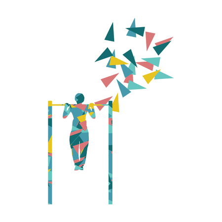 Athlete doing pull up man fitness and horizontal bar vector background abstract illustration made with polygon fragments isolated on white