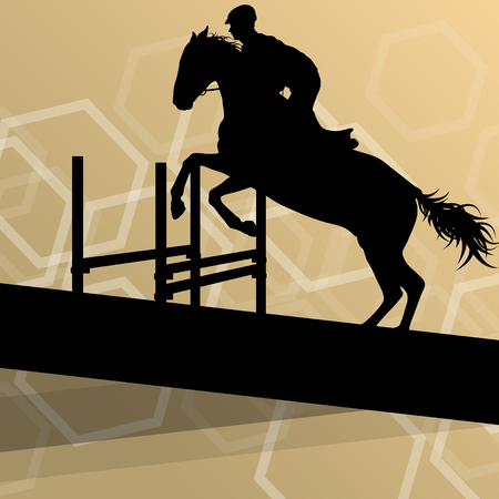 equestrian sport: Horse with rider equestrian sport vector background concept