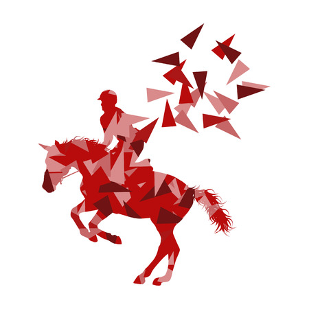 Horse riding vector background abstract illustration concept made of polygon fragments isolated on white Illustration