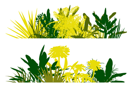 illustation: Jungle plant leaves silhouettes in detailed forest background concept vector illustation Illustration