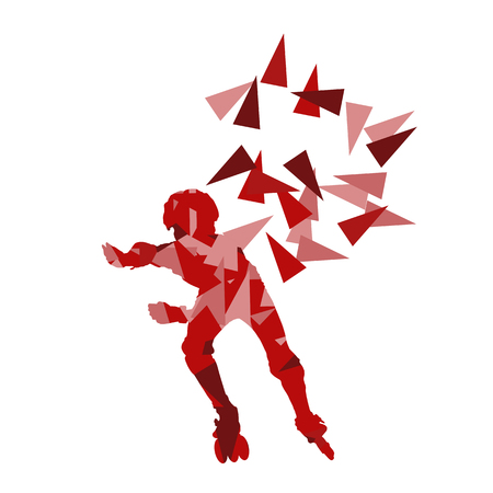 roller skates: In line skating vector background abstract illustration made with polygon fragments isolated on white