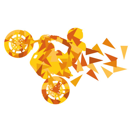 headpiece: Motorcyclist performed extreme stunts driver vector abstract background illustration made of polygon fragments isolated on white Illustration