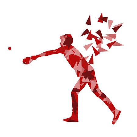 socializando: Jugador de tenis de mesa ilustración vectorial de fondo abstracto hecho con fragmentos poligonales aislados en blanco