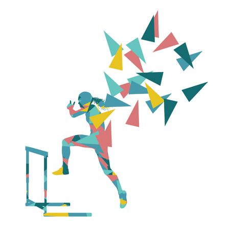 Female hurdles race woman athlete competing vector abstract background illustration made of polygon fragments isolated on white