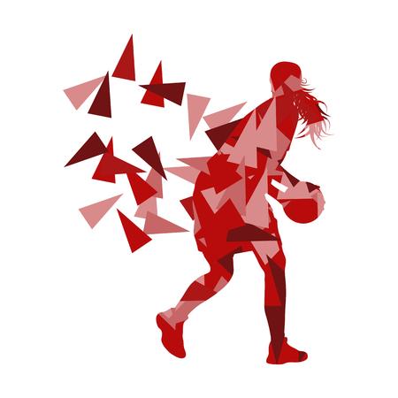 baloncesto chica: Joven jugador de baloncesto niña de vectores de fondo concepto abstracto ilustración hecha con fragmentos de polígono aislado en blanco