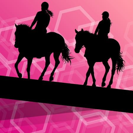 equestrian: Horse with rider equestrian sport vector background concept