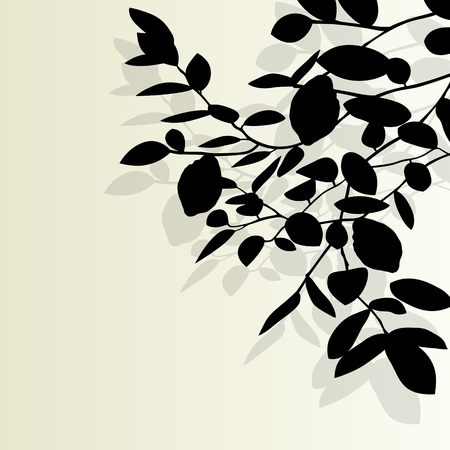 tree branch: Tree branch leaf vector background illustration with vintage colors