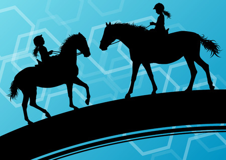horse care: Horses with young children riders healthy active sport vector background concept