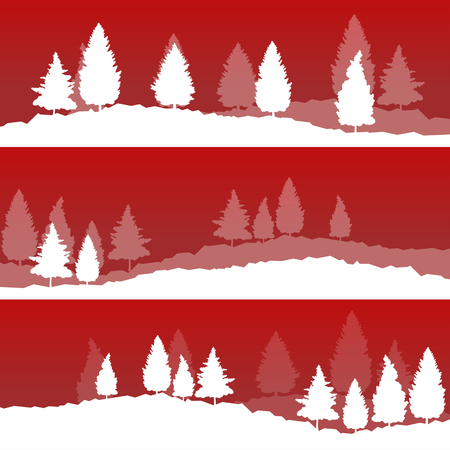 hoarfrost: Winter Christmas landscape with fir tree snow spruce vector background banner set