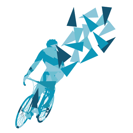 high tension: Cyclist professional racer vector background abstract concept illustration made of polygon fragments isolated on white Illustration