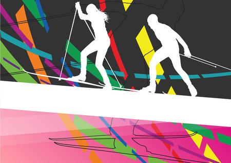 jeune femme et l'homme ski sports silhouettes actives hiver abstrait illustration ligne extérieure vecteur dans
