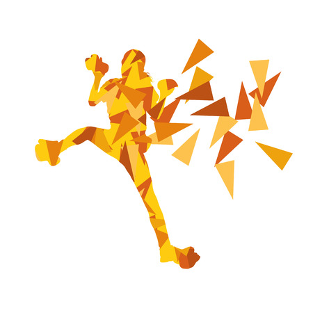 Climber silhouette woman vector background abstract illustration made of polygonal fragments isolated on white