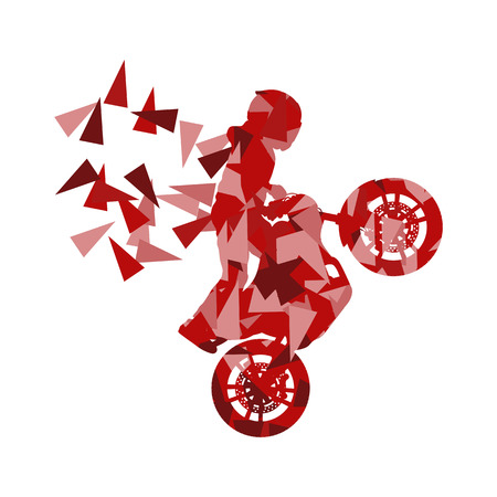 fragments: Motorcyclist performed extreme stunts driver vector abstract background illustration made of polygon fragments isolated on white Illustration
