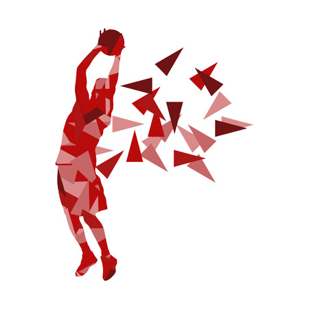 fragments: Basketball player man vector background abstract illustration concept made with polygon fragments isolated on white Illustration