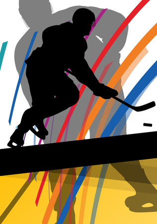 head shot: Hockey player sport silhouette vector abstract background line concept