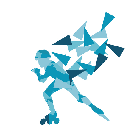 inline skating: In line skating vector background abstract illustration made with polygon fragments isolated on white