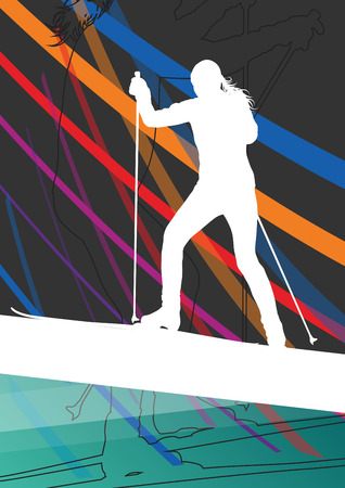 resorts: Active young women skiing sport silhouettes in winter abstract line background outdoor illustration vector