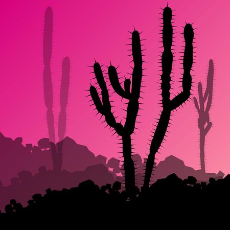 mirage: Cactus detailed silhouettes nature desert landscape illustration vector background