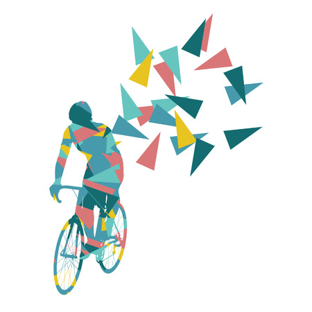 Cyclist professional racer vector background abstract concept illustration made of polygon fragments isolated on white