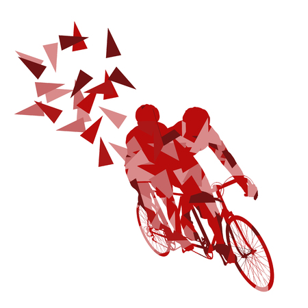 Cyclist professional tandem two seater racers vector background abstract concept illustration made of polygon fragments isolated on white Illustration