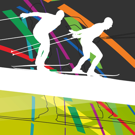 lesson: Active young woman and man skiing sport silhouettes in winter abstract line background outdoor illustration vector
