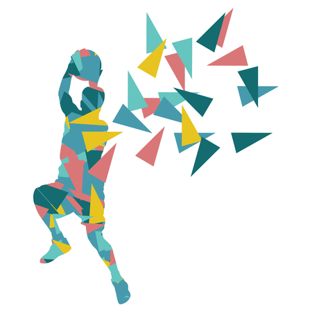 Basketball player man vector background abstract illustration concept made with polygon fragments isolated on white Ilustração