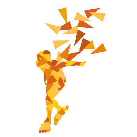 Skaten vector achtergrond abstracte afbeelding gemaakt met veelhoek fragmenten op wit wordt geïsoleerd