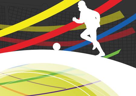 jugadores de futbol: jugadores de fútbol de los hombres de fútbol siluetas de deporte de invierno activas vector de ilustración de fondo abstracto